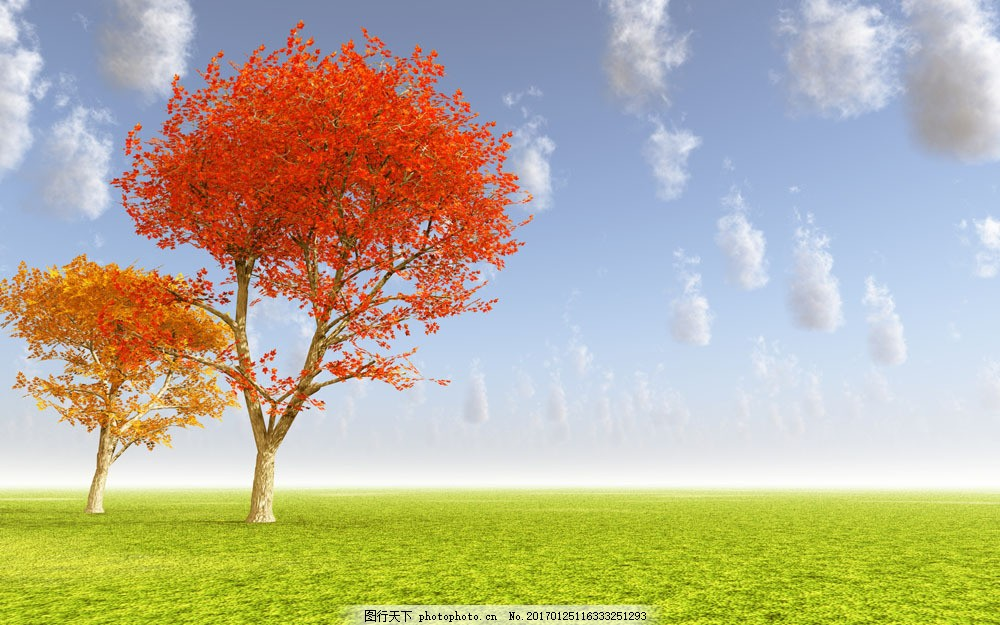 秋天风景图片,秋天风景图片素材 天空 树 草坪 红叶子