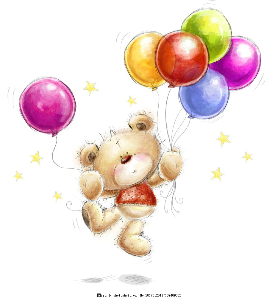 图片素材 拿着气球的卡通小熊插图 节日庆典 节日元素 卡通动物插图