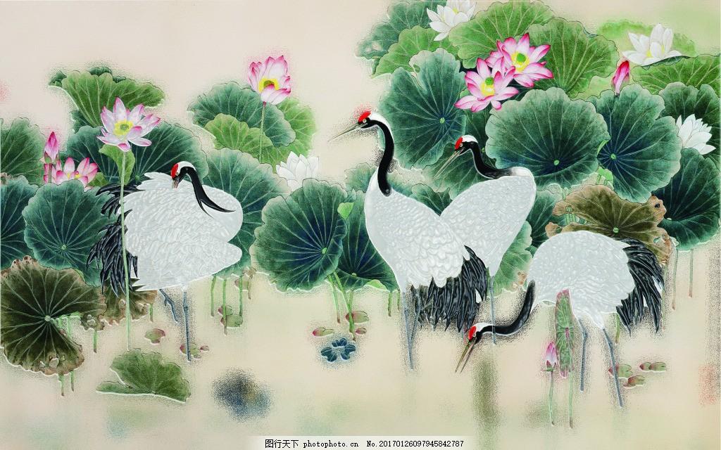 荷花白鹤装饰画,背景 壁纸 风景 高分辨率图片 高清