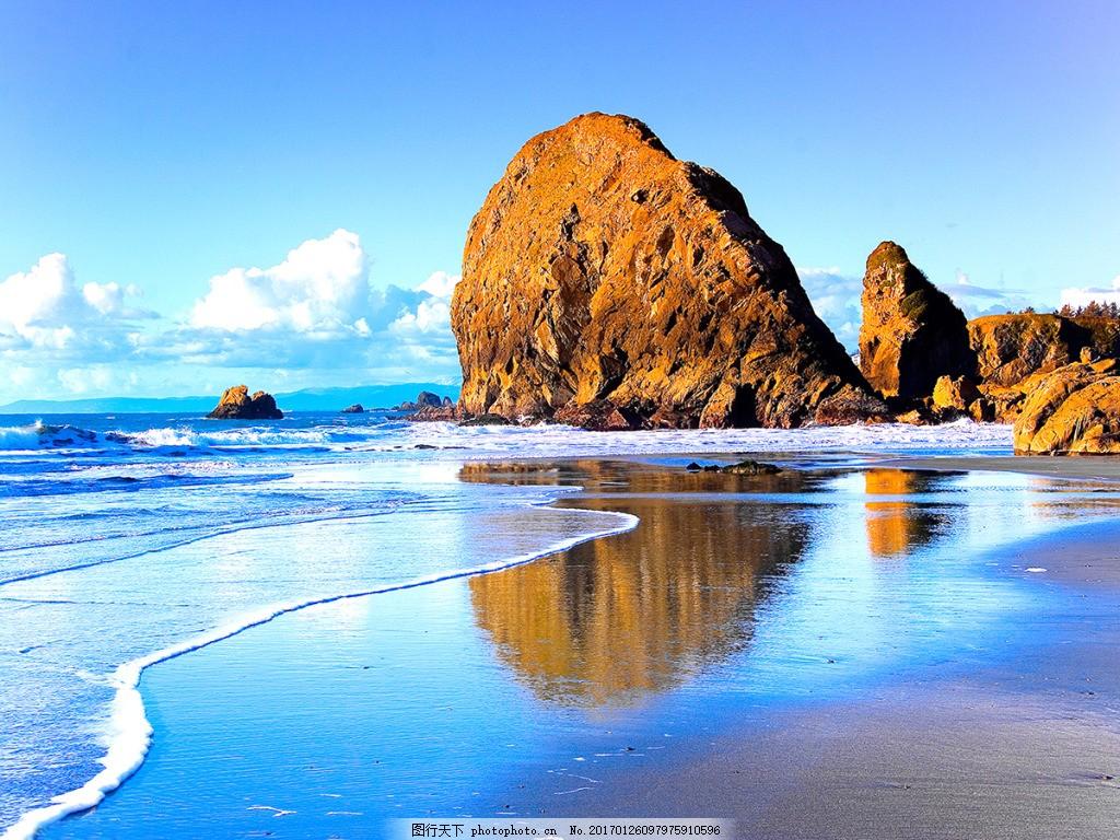 海边沙滩背景墙,壁纸 风景 高分辨率图片 高清大图-图