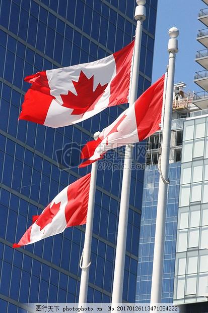 蓝天下的温哥华 加拿大国旗 旗帜红色 白色 天空 蓝色