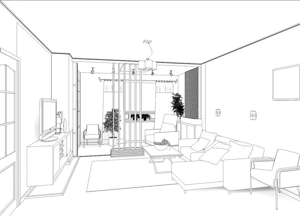 线描客厅效果图 线描客厅效果图图片素材 沙发 茶几 时尚家具 客厅