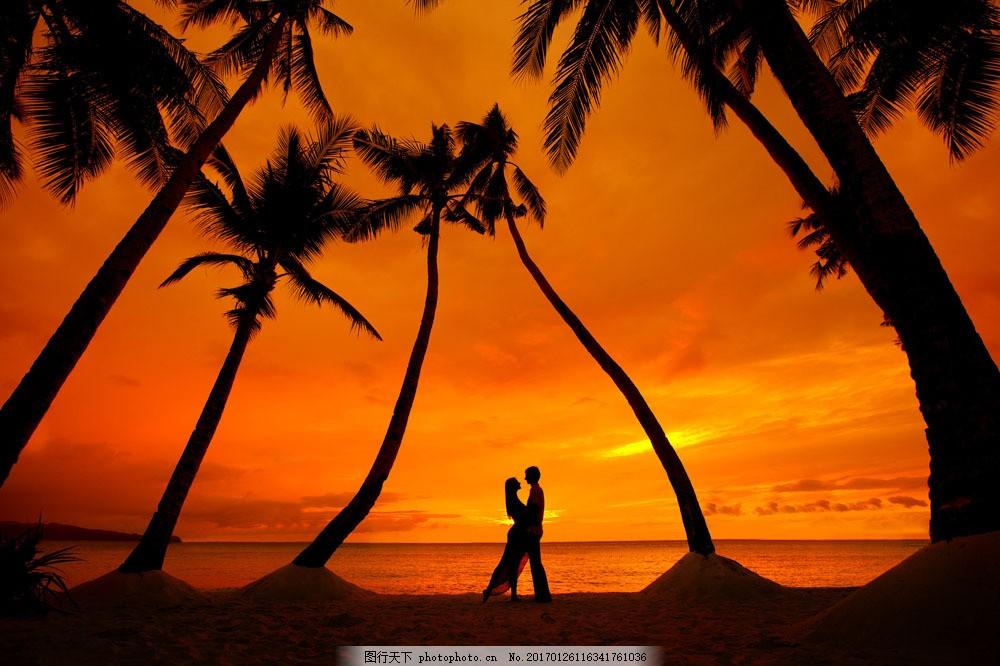 傍晚 情侣 大海 沙滩 海边 外国 人物 夏天 大海图片 风景图片 图片