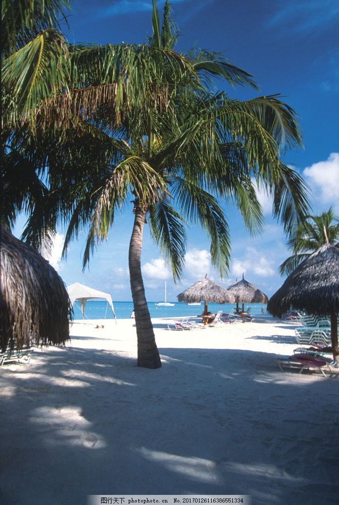 海滩风景图片素材 海 沙滩 椰树 倒影 遮阳伞 躺椅 自然风景 海边风景