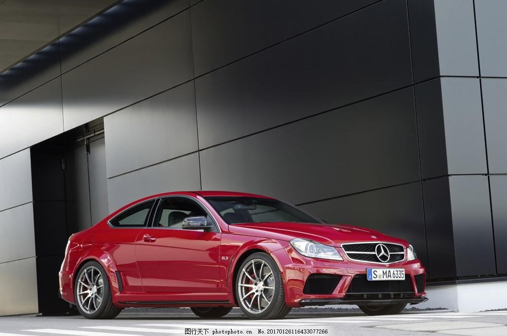 红色奔驰轿车 红色奔驰轿车图片素材 汽车 工业生产 小车 交通工具