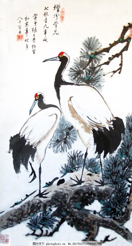 水墨松树与白鹤 水墨松树与白鹤图片素材 国画风景写意 山水画 水墨风