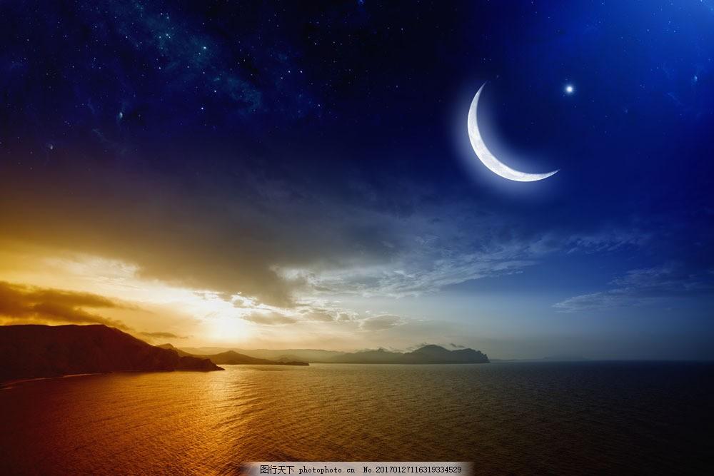 蓝天月亮大海 蓝天月亮大海图片素材 星星 天空云朵 云层风景 白云
