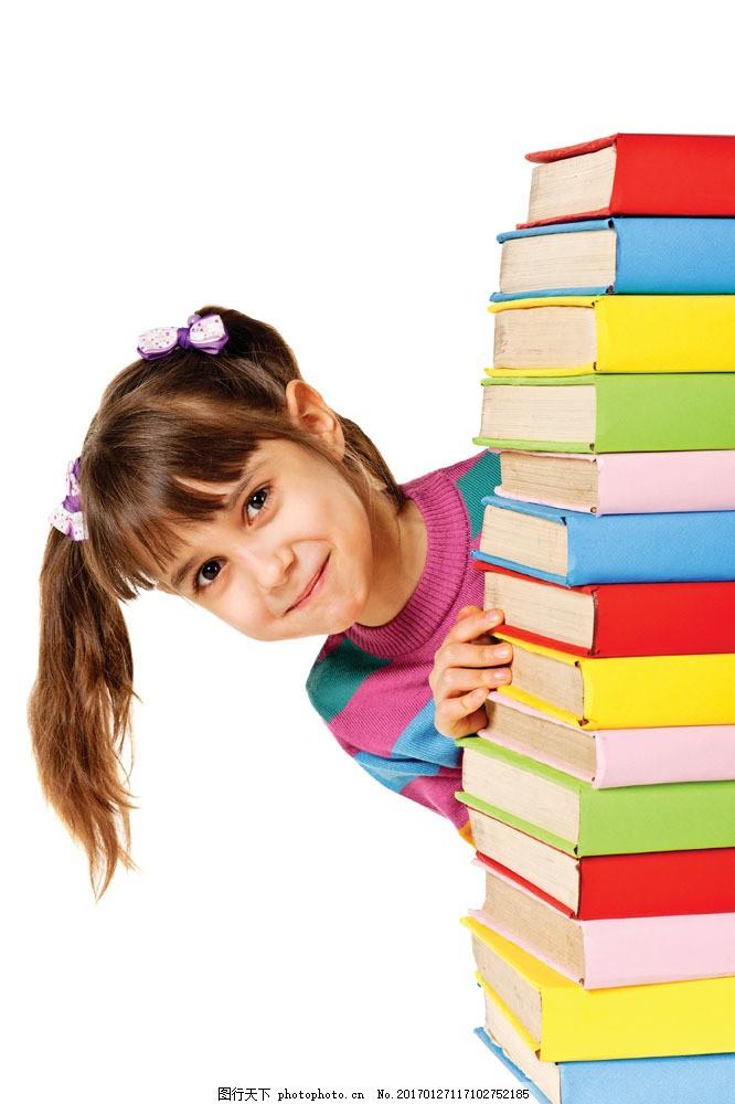 小女孩与书本图片素材 外国儿童 可爱小女孩 小学生 学习 书本 书本