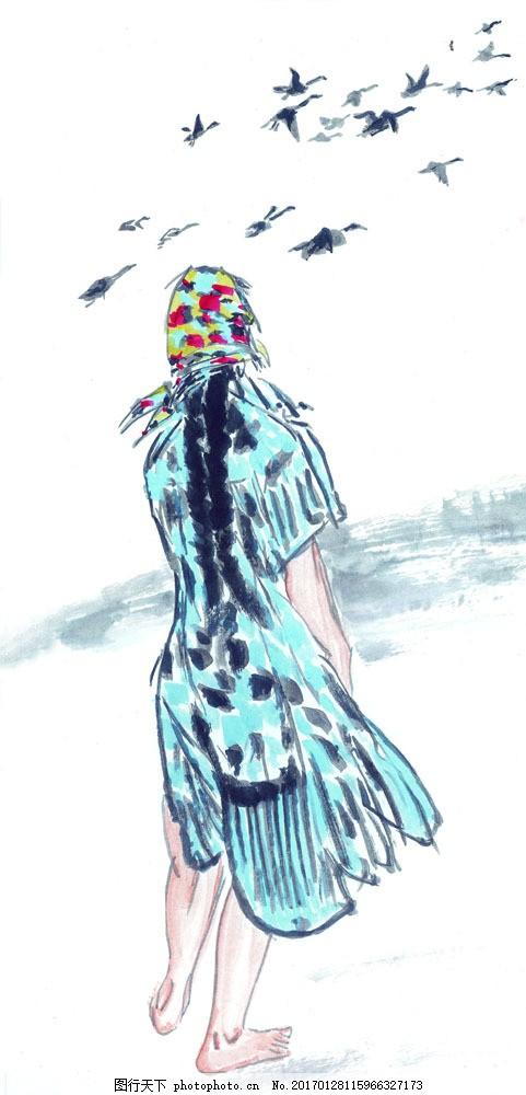 水墨女人背影 水墨女人背影图片素材 水彩画 水墨画 古代人物 水彩