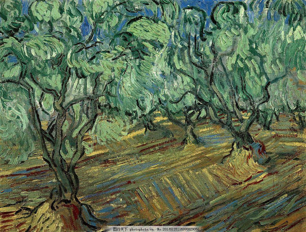 梵高树木风景油画写生图片素材 梵高名画 树木风景油画 果树 果园风景