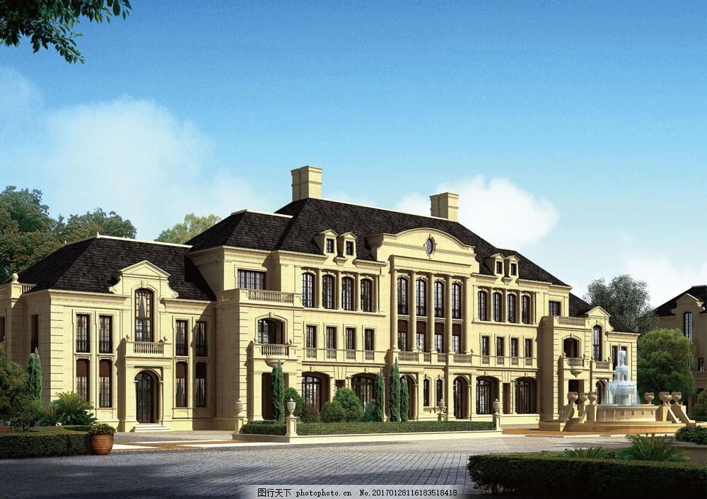 欧式别墅建筑设计 欧式别墅建筑设计图片素材 小区建筑设计 建筑规划