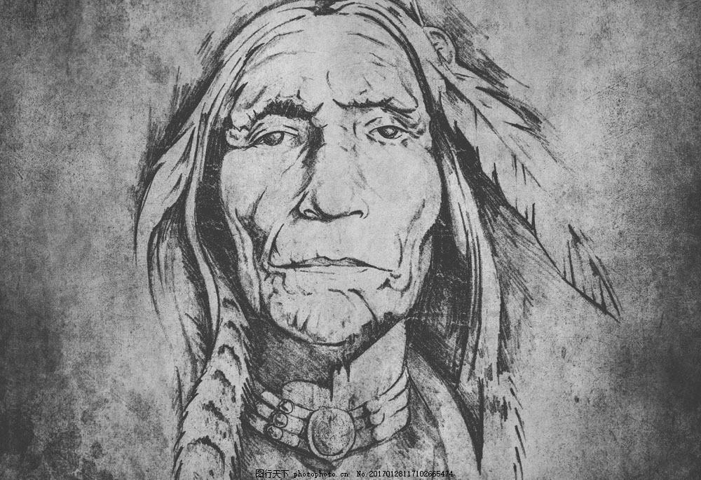 印第安人物肖像画图片