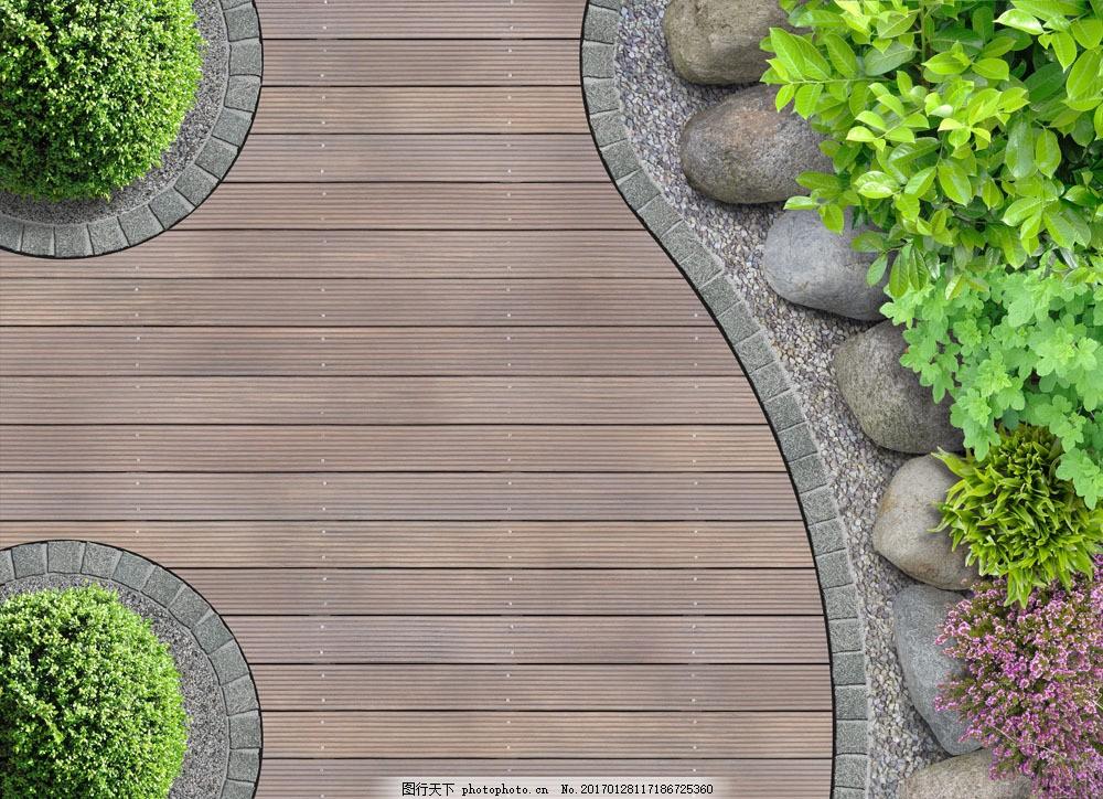 鸟瞰花园景观植物 鸟瞰花园景观植物图片素材 石头 木板背景 绿化带