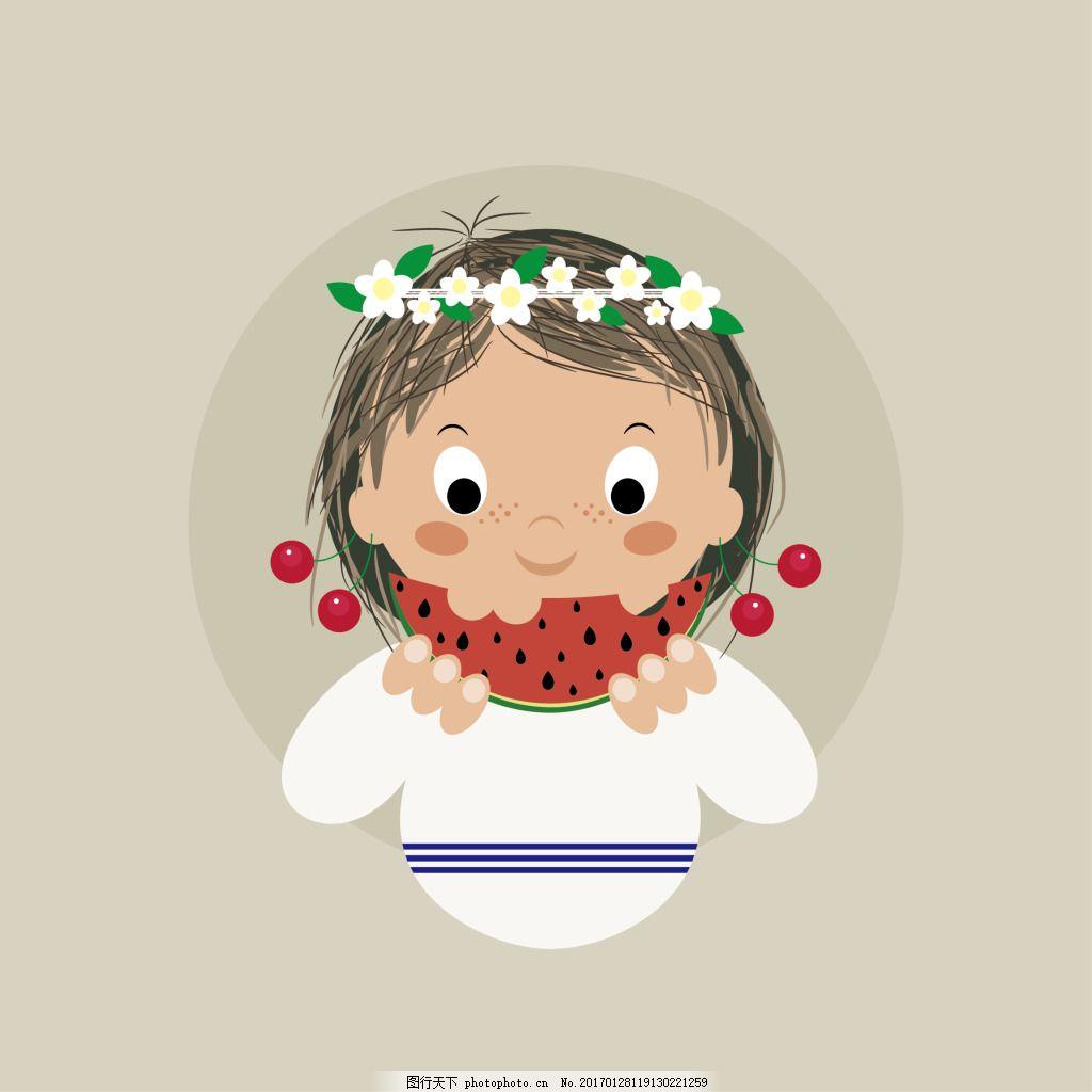 卡通女孩 可爱 吃西瓜 小女孩 花环女孩图片