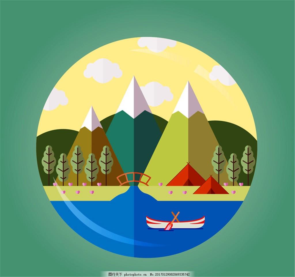 雪山 树林 桥 帐篷 船 河 夏季 野营 风景 矢量图