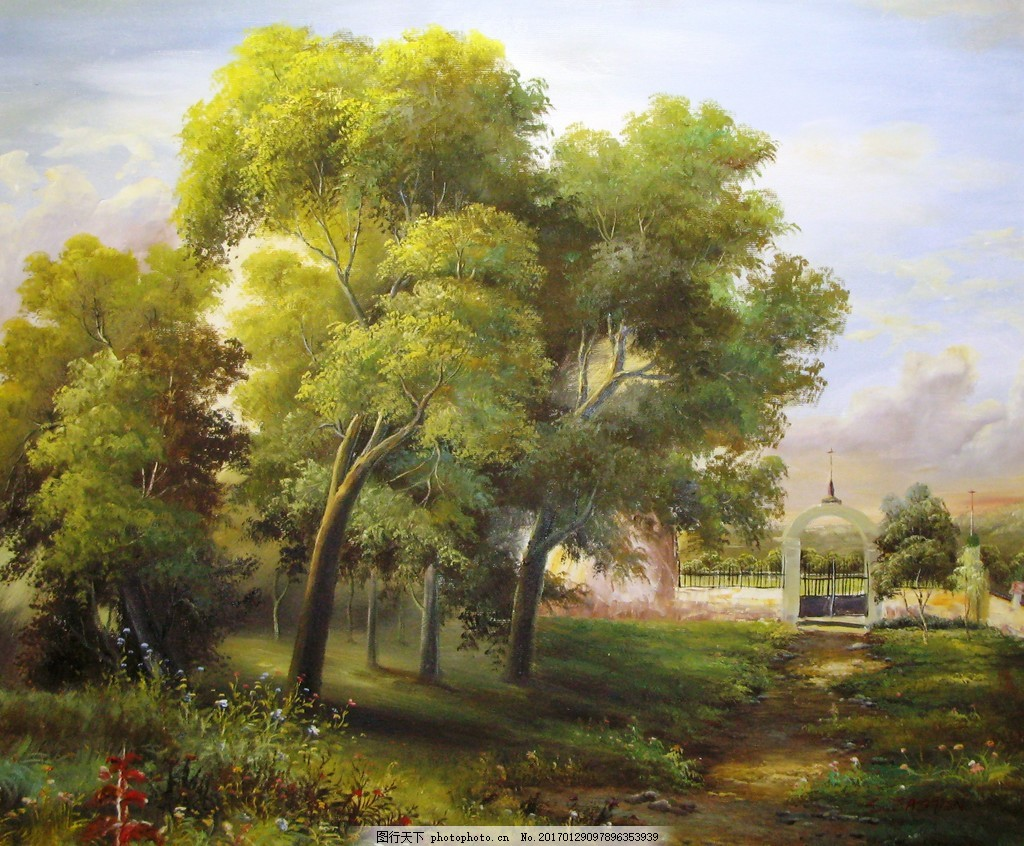 树木风景装饰画 背景素材 壁画 插画 抽象 抽象花 抽象画 无框画素材