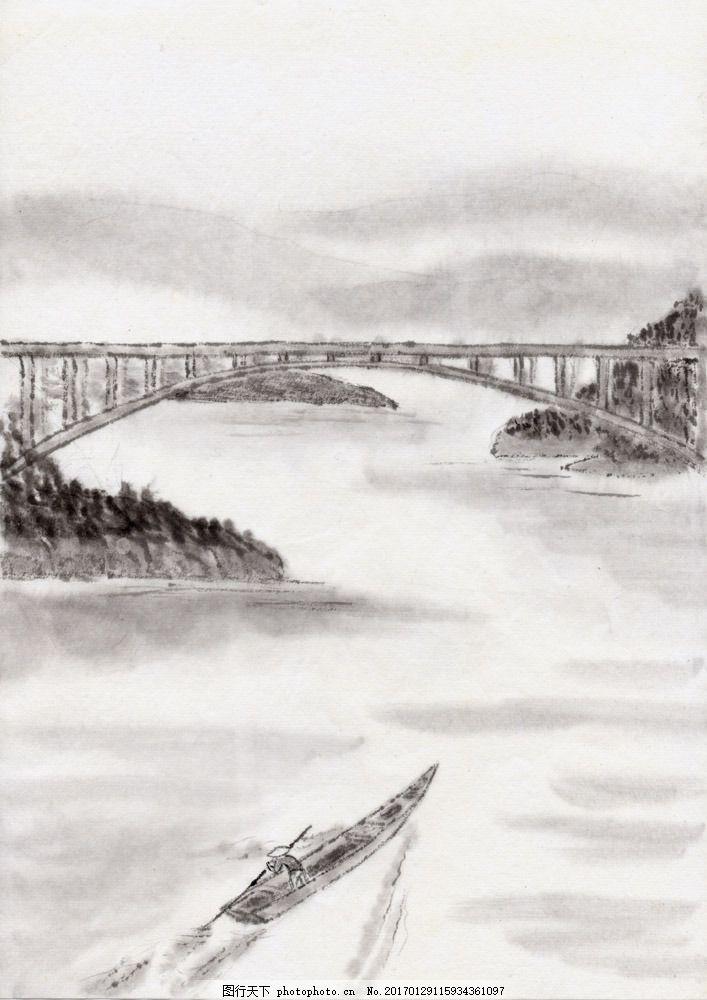 桥梁河流风景国画 桥梁河流风景国画图片素材 水墨画 名画 桥梁风景