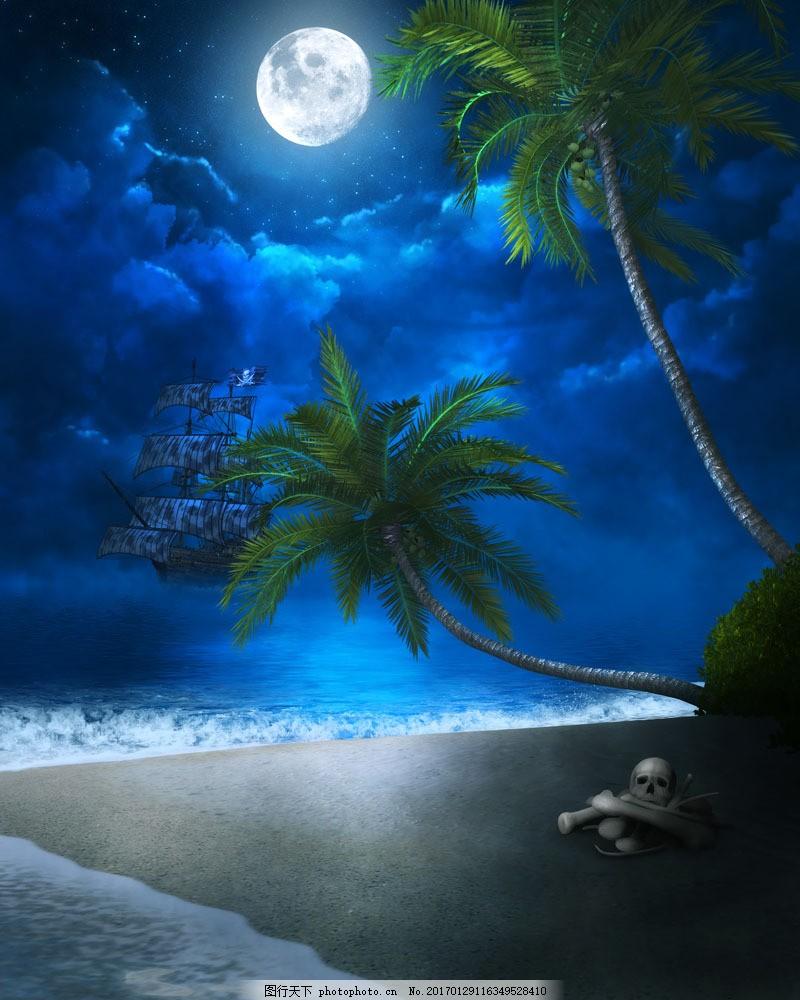 椰树图片素材 沙滩风景 海滩风景 美丽风景 椰树 椰子树 大海图片
