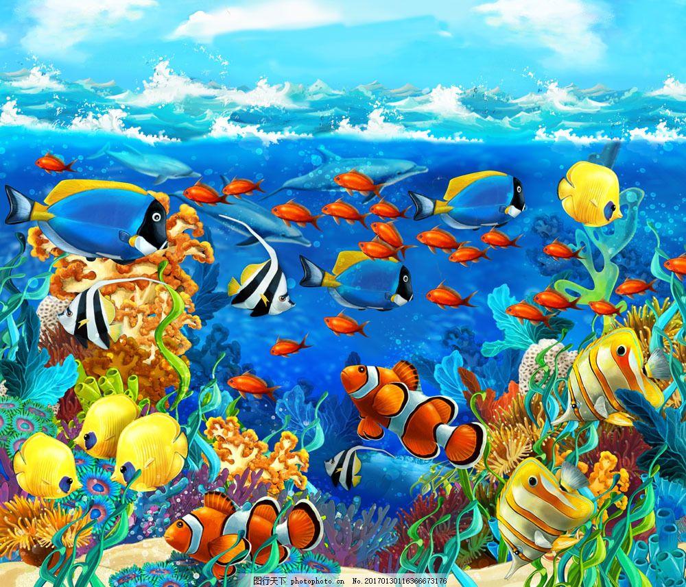 成群的红鱼和动物图片