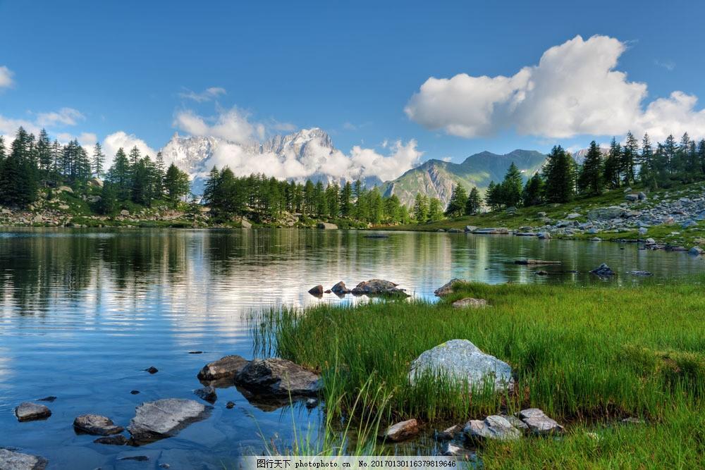 清澈 小河 蓝天 白云 纯净 美丽 树林 森林 景区 自然风光 自然风景