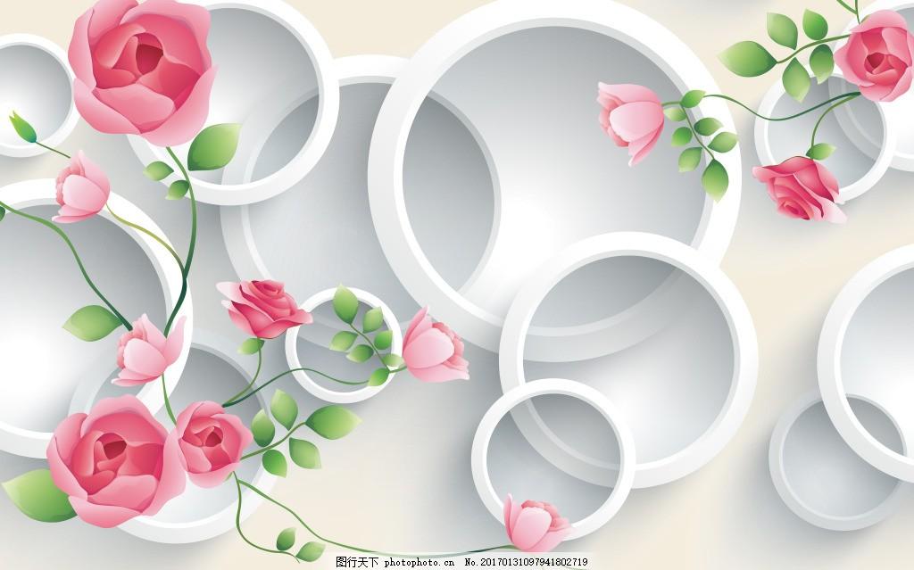 圆环花卉背景墙 壁纸 风景 高分辨率图片 高清大图 建筑 装饰