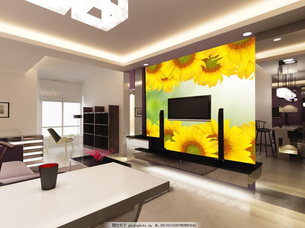 向日葵背景墙,壁纸 风景 高分辨率图片 高清大图 建筑