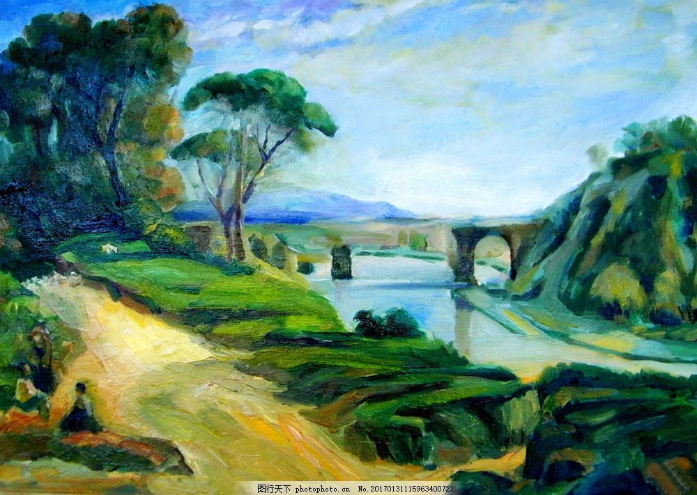 马路桥梁风景油画图片