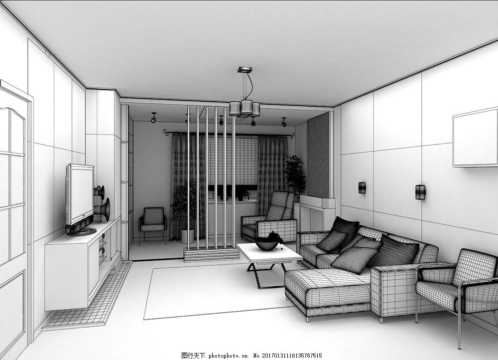 手绘客厅效果图图片素材 沙发 茶几 时尚家具 客厅室内效果图