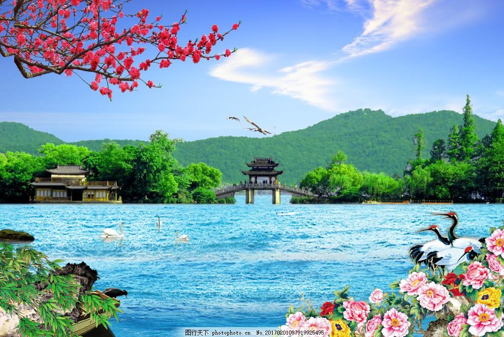 湖面自然装饰画 背景 壁纸 风景 高分辨率图片 高清大图 建筑