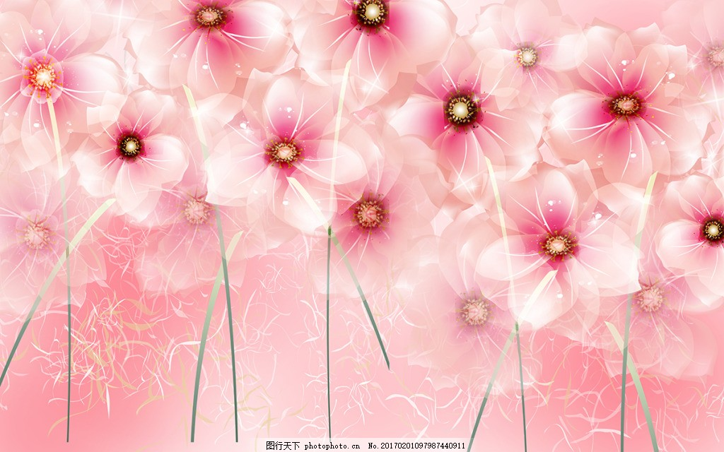 粉色花卉背景墙,壁纸 风景 高分辨率图片 高清大图-图
