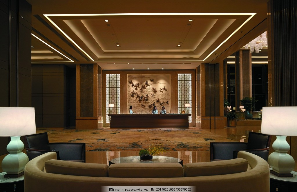 服务中心 服务台 接待中心 休息区 休闲沙发 酒店大堂 香格里拉