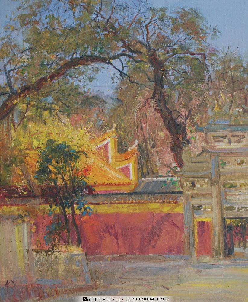 风景建筑油画图片