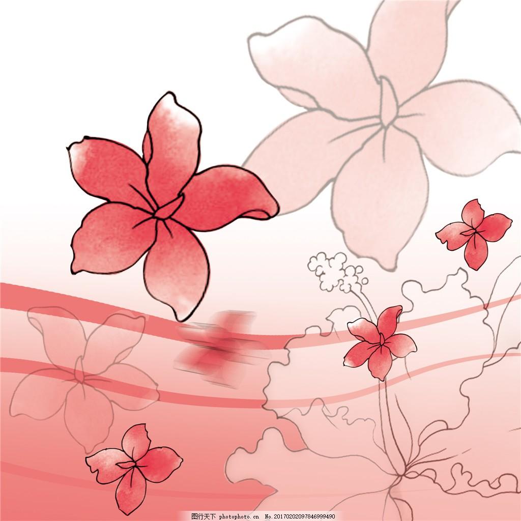 粉色线条花朵装饰画 粉色 线条 花朵 藤蔓 装饰画