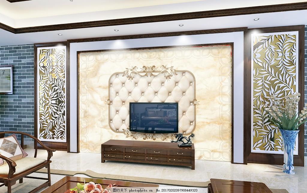 欧式大理石电视机背景墙素材psd