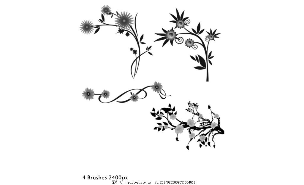 手绘花纹和藤蔓装饰ps笔刷