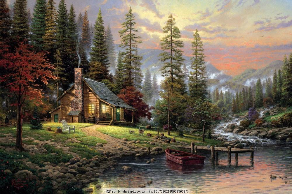 风景油画图片素材 油画 装饰画 绘画艺术 风景写生 风景油画 小木屋
