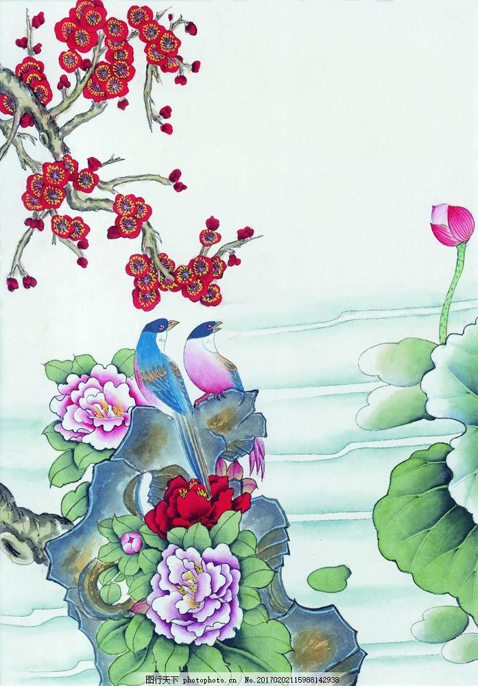 手绘荷花与花朵图片素材 国画 油画 装饰画 无框画 手绘 素描 插画