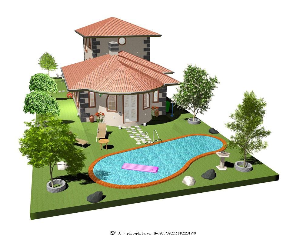 3d豪华别墅模型 房子模型 建筑设计 游泳池 环境家居 图片素材