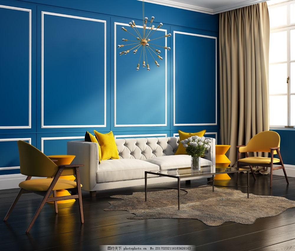 蓝色风格客厅装修设计图片素材 欧式客厅装饰设计 室内装修设计 室内