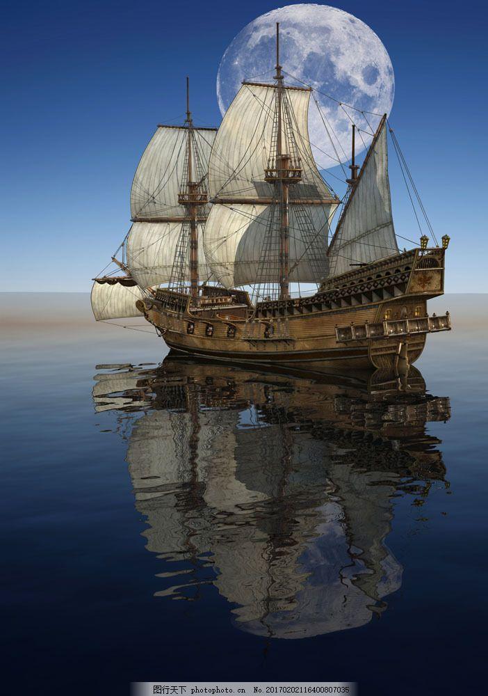 月亮轮船图片素材 帆船 船舶 扬帆起航 船只 轮船 航行 航海 大海风景