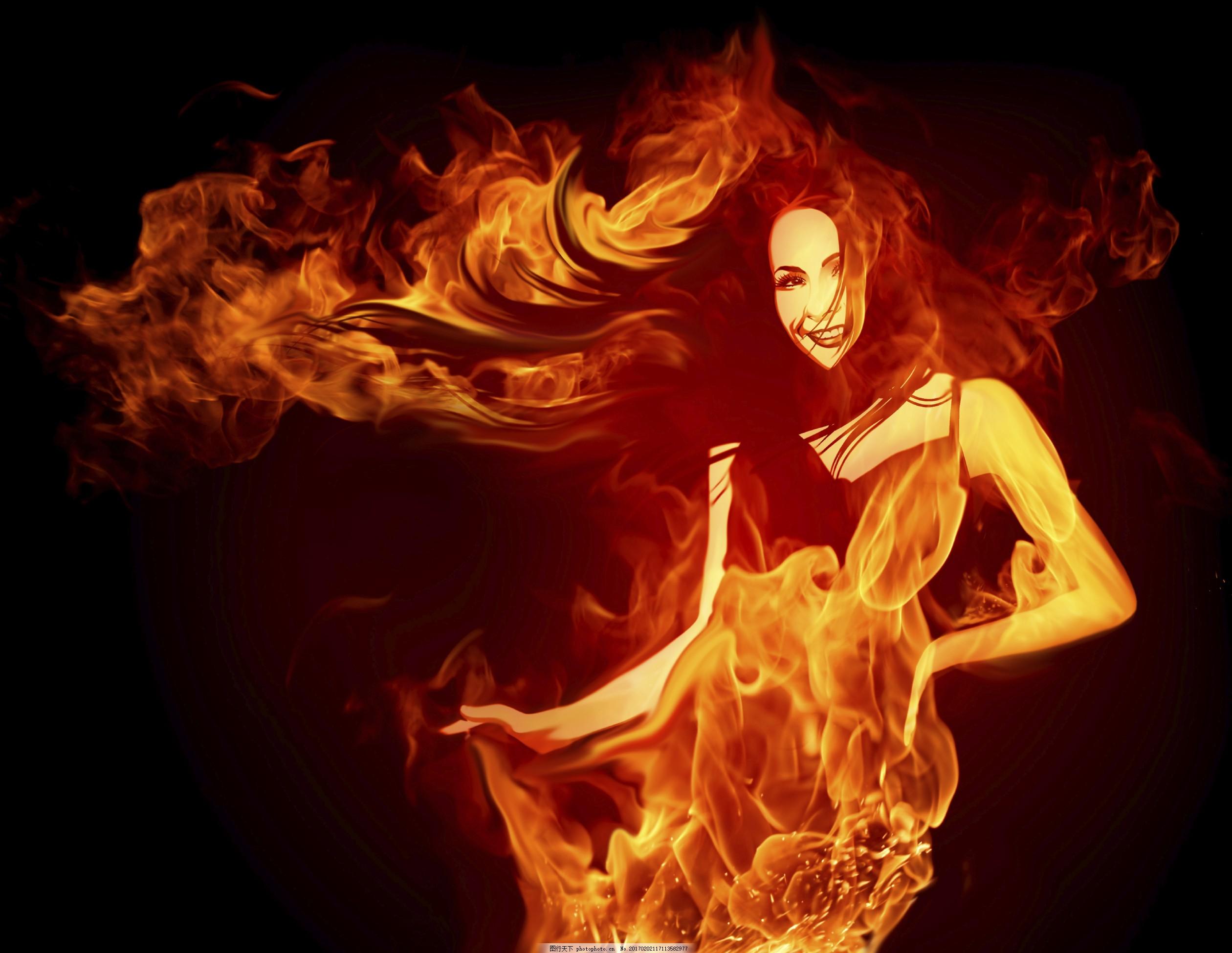 燃烧的性感美女图片素材 火焰 燃烧 熊熊烈火 烟雾 性感美女 冰水烈火