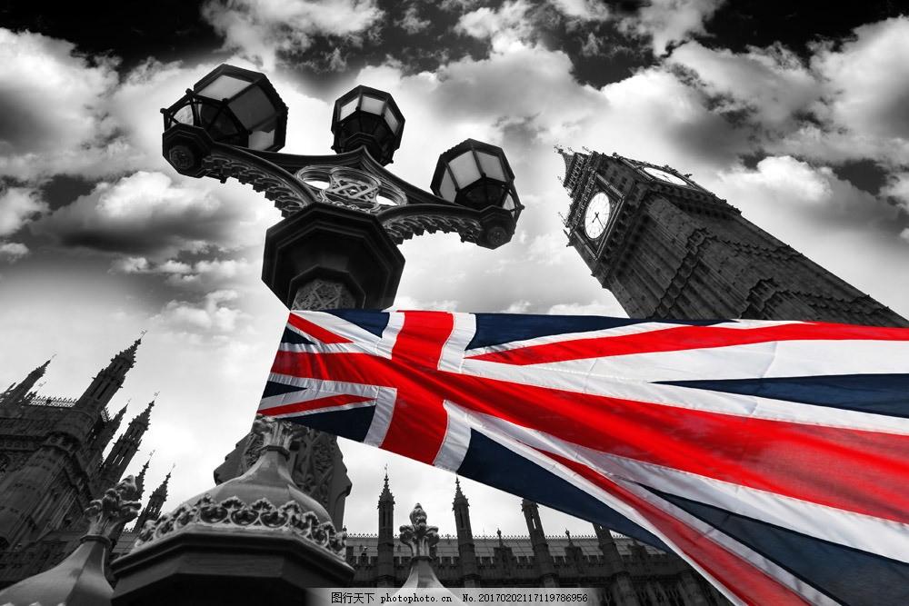 英国国旗与大本钟 英国国旗与大本钟图片素材 英国风景 伦敦风景
