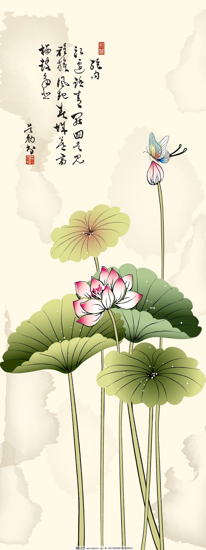 绿荷蝴蝶背景墙 背景墙 中国画 室内装饰 背景画 荷花 荷叶 蝴蝶
