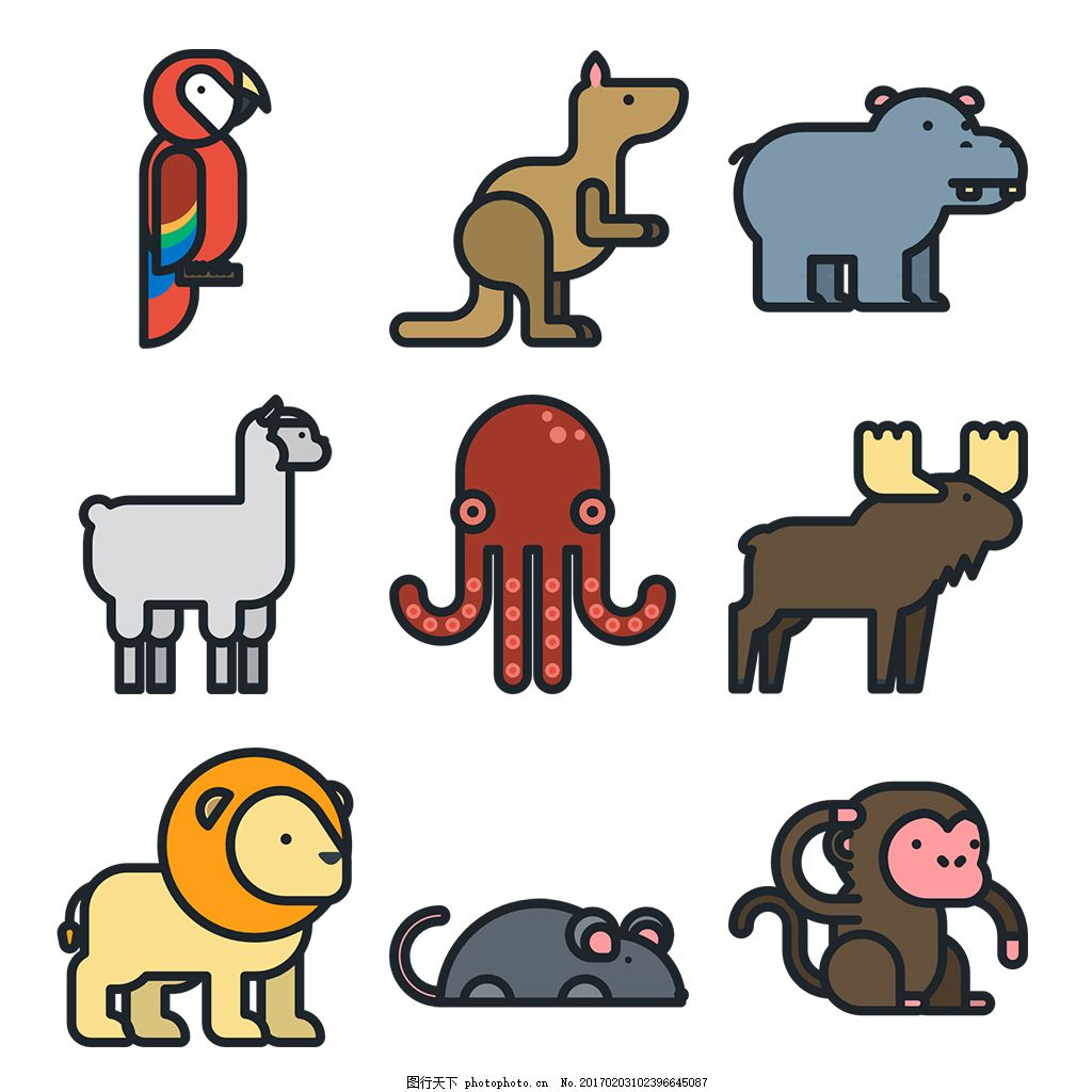 扁平可爱动物icon图标