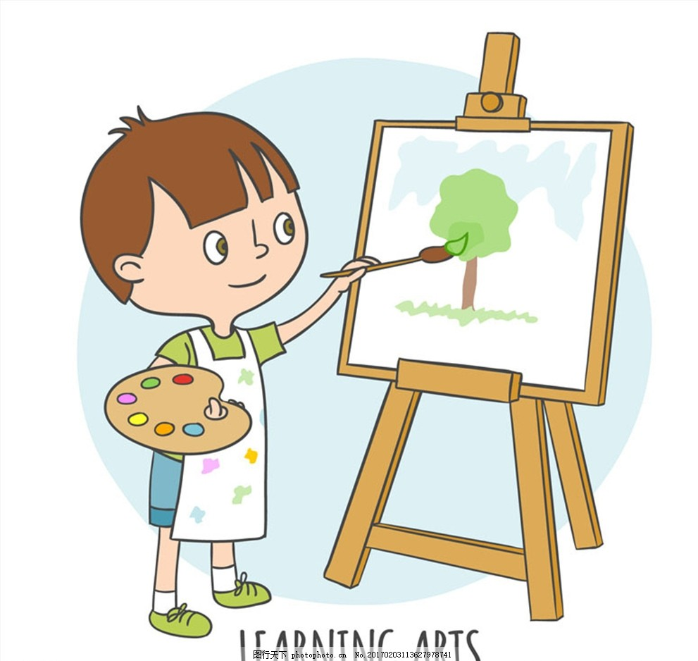 卡通拿着调色板画画的男孩矢量素 画板 人物 绘画 艺术 文化艺术
