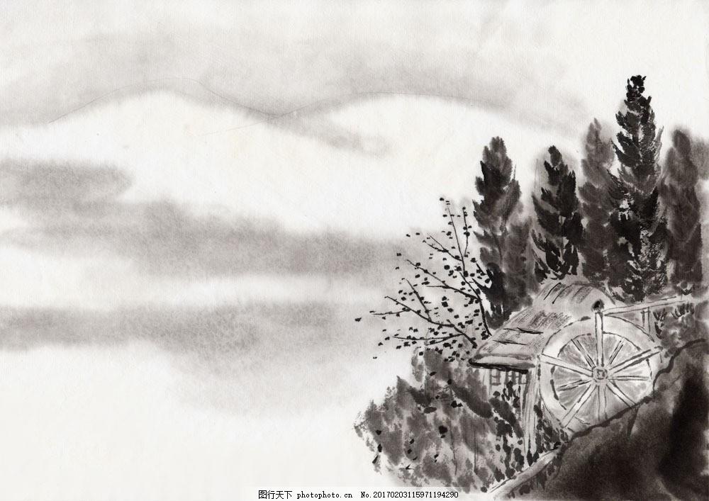 水墨风景-水车和小屋图片 水墨风景水车和小屋图片图片素材 丹青