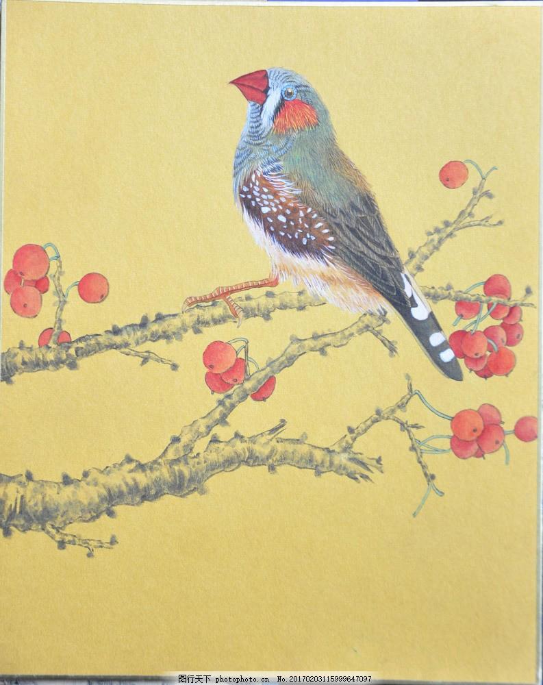 国画苹果与鸟图片素材 水墨画 中国画 中国艺术 绘画艺术 国画 装饰画