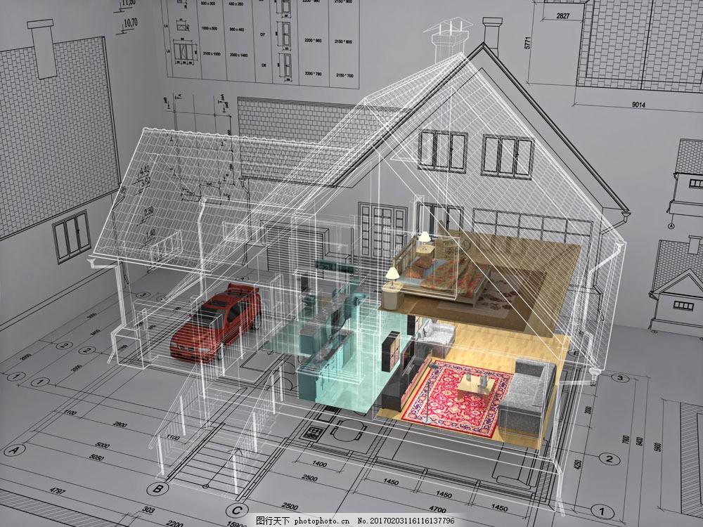 3d房屋透视图与图纸图片