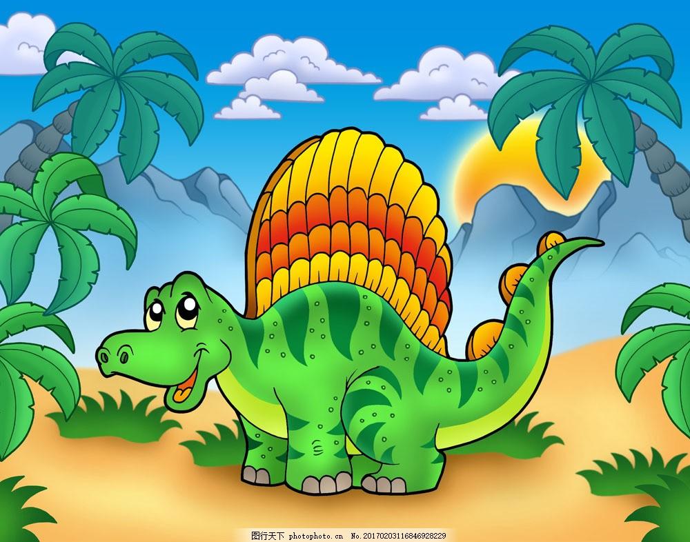 设计图库 高清素材 动植物  卡通恐龙与风景02图片素材 动漫卡通角色图片