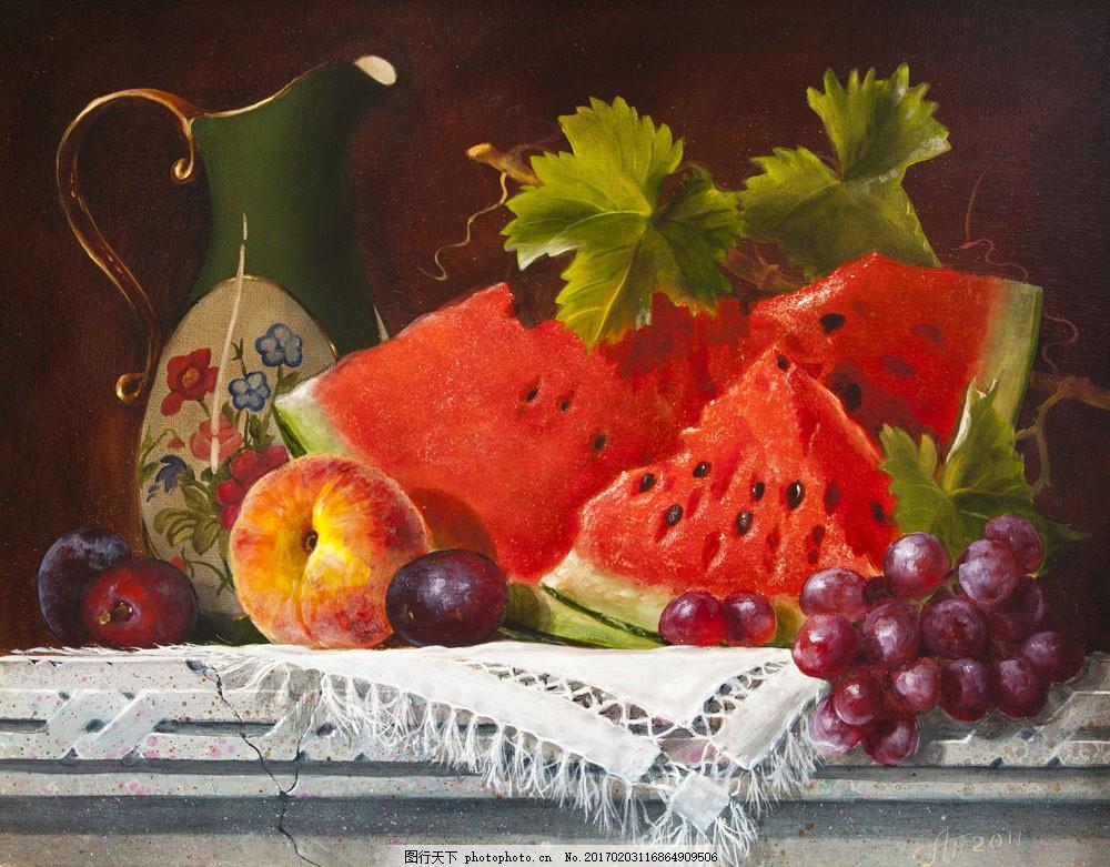 水果水彩油画 水果水彩油画图片素材 西瓜 桃子 葡萄 水彩水果